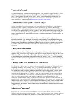 Zásady používania osobných údajov a Zásady používania súborov