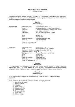 ZMLUVA O DIELO č.1/2013 (ďalej len zmluva) uzavretá podľa § 536