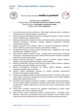Štátne skúšky 2013/2014 – bakalárske štúdium