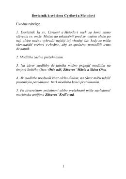 Deviatnik k sv. Cyrilovi a Metodovi - Kongregácia sestier sv. Cyrila a