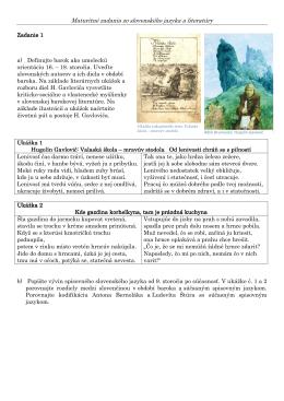 Maturitné zadania zo slovenského jazyka a literatúry