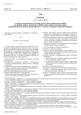 102/2014 Zákon o ochrane spotrebiteľa pri predaji tovaru alebo