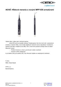 NOVÉ: Hĺbkové merania s novými MPP-IDS armatúrami