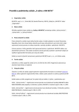 """Pravidlá a podmienky súťaže """"3 výhry s KM BETA"""""""