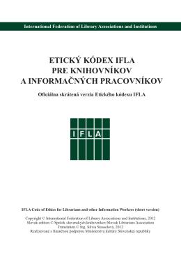 Etický kódex IFLA pre knihovníkov a informačných pracovníkov