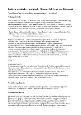Tarifné a prevádzkové podmienky Skicomp