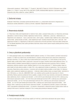 1. Zmluvné strany 2. Rezervácia služieb 3. Ceny a platobné