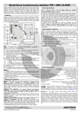 Bezdrôtový kombinovaný detektor PIR + MW JA-80W