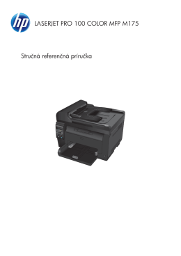 HP LaserJet Pro 100 Color M175 Quick Reference Guide
