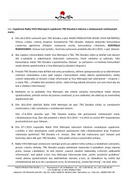 Vec: Vyjadrenie Rádia VIVA Metropol k
