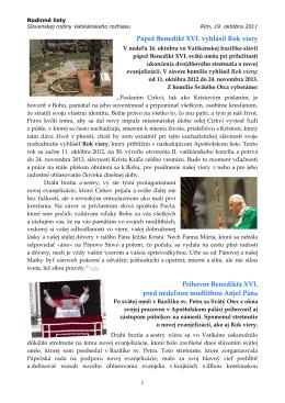 P{pež Benedikt XVI. vyhlásil Rok viery Príhovor Benedikta