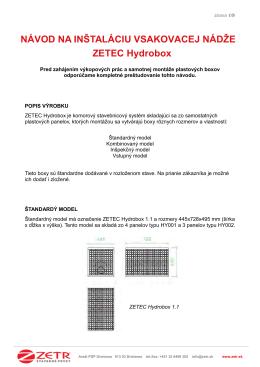 Návodu na inštaláciu systému ZETEC® Hydrobox