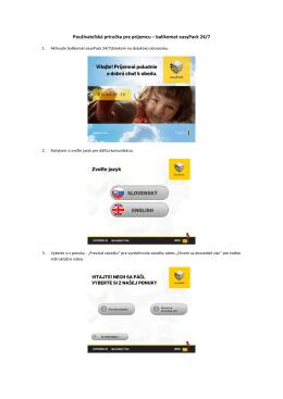 Pozrite si používateľkú príručku Balíkomat 24/7