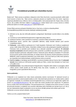 pravidlá pre účastníkov kurzu a storno podmienky
