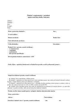 žiadosť o umiestnenie v ZOS