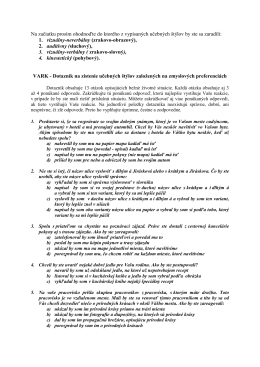 Dotazník - Učebné štýly založené na zmyslových preferenciách