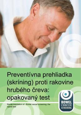 (skríning) proti rakovine hrubého čreva: opakovaný test
