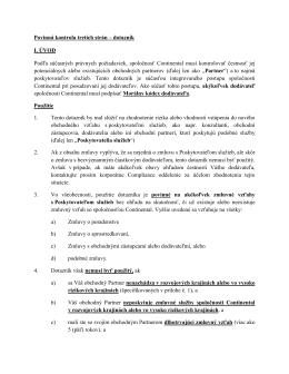 Povinná kontrola tretích strán – dotazník I. ÚVOD Podľa
