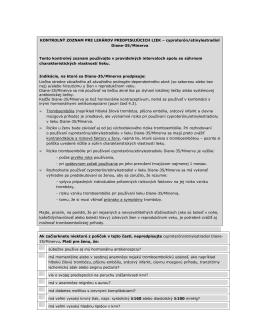 kontrolný zoznam pre lekárov predpisujúcich liek