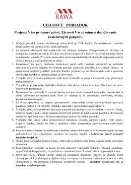 CHATOVÝ PORIADOK - chatymodrova.sk