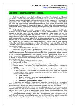 súbor Jazierko - správna udržba počas roka, prípravky
