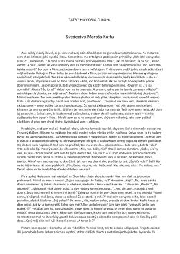 Svedectvo Maroša Kuffu