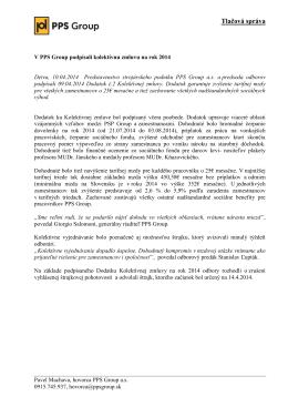 V PPS Group podpísali kolektívnu zmluvu na rok 2014