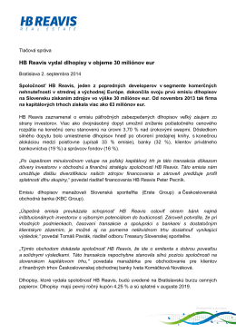 HB Reavis vydal dlhopisy v objeme 30 miliónov eur