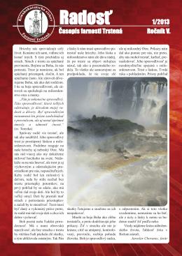 Farský časopis Radosť 1/2013
