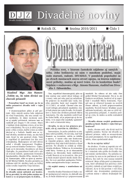 č. 1 / IX / september 2010 - Divadlo Jonáša Záborského
