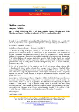 Hupsov šlabikár - Franz Liszt institut Miroslava Demka
