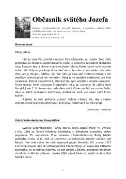 Občasník svätého Jozefa - Rímskokatolícka farnosť Stupava