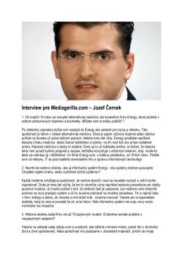Interview pre Mediagerilla.com – Jozef Černek