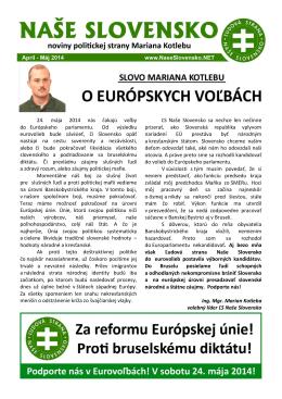 Aprílové číslo časopisu - Ľudová strana Naše Slovensko