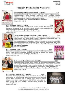 Program divadla Teatro Wüstenrot