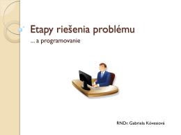 Etapy riešenia problému