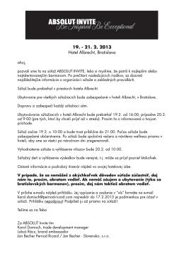 2013 ABSOLUT Invite - propozicie