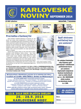 26. - 28.9. 2014 KARLOVESKÉ HODY