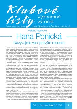 Hana Ponická - Listy Slovákov a Čechov