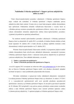 Článok do Podpajštúnskych zvestí k Valnému