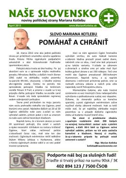 Aprilové číslo časopisu - Ľudová strana Naše Slovensko