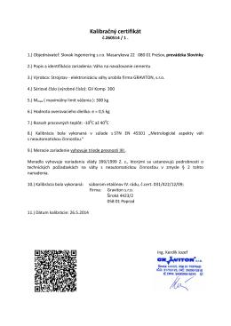 Kalibračný certifikát