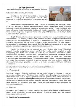 Bc. Peter Radošinský nominant koalície KDH a