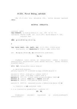 Kúpna zmluva - Obec Hodejov