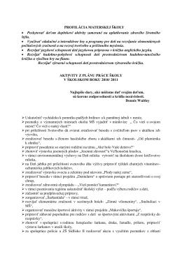 Aktivity z plánu práce školy v školskom roku 2010/2011