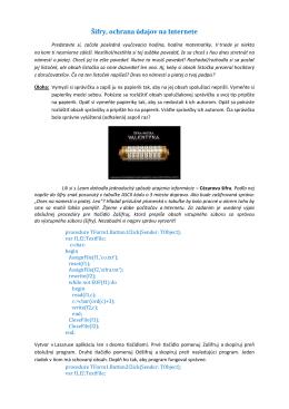 Šifry, ochrana údajov na Internete