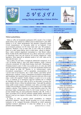 Vydanie číslo 1 - Jún 2009