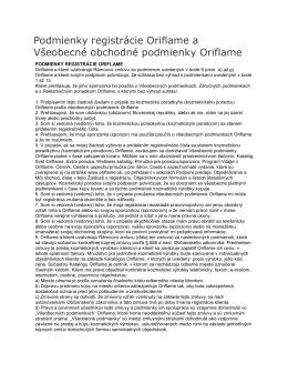 Podmienky registrácie Oriflame