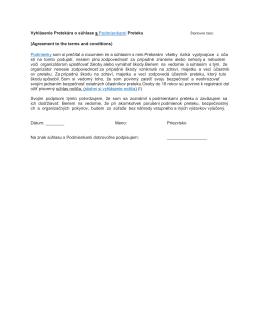 Vyhlásenie Pretekára o súhlase s Podmienkami Preteku