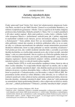 Andrej Findor: Začiatky národných dejín (József Demmel)